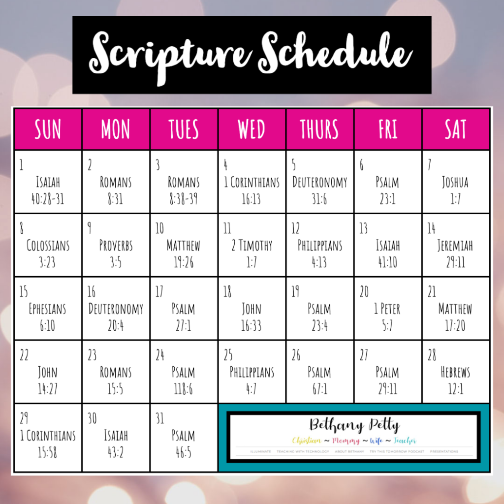Month-Long Scripture Schedule
